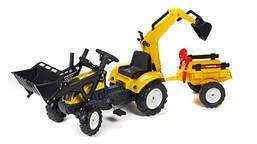 Трактор педальный с прицепом и двумя ковшами Falk 2055CN. Машинка для детей