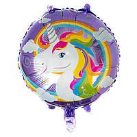 """Надувной детский шар """"Единорог"""" для гелия\воздуха d=45см. фольга"""