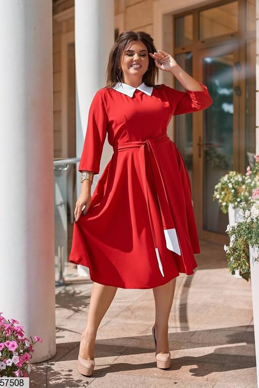 Красное платье больших размеров в офисном стиле, фото 2