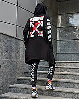 Комплект в стиле Off White c мантией черный (Штаны, мантия, маска, футболка), фото 1
