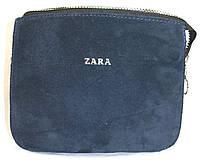 Женский синий клатч Zara из натуральной замши на цепочке 23*18 см, фото 1