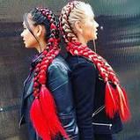 Канекалон коса двухцветный омбре черно-красный  60 см., фото 3