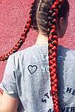Канекалон коса двухцветный омбре черно-красный  60 см., фото 4