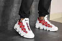 Мужские кроссовки в стиле Nike Air More Money, кожа, пена, белые с красным 43 (27,5 см)