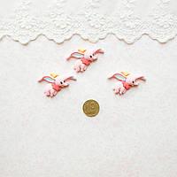 Декор миниатюра Летающий слоник розовый  2*3*0,5 см