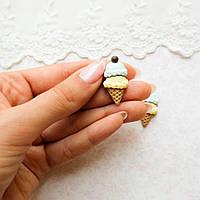 Декор миниатюра «Морженное рожок» голубой и желтый - 3*1.5 см