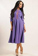 Нарядное фиолетовое женское платье с кружевом по груди Джулия 42, 44, 46