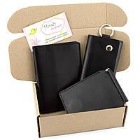 Подарочный набор №36: Зажим для денег + обложка на паспорт + ключница (черный)