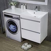 Тумба під пральну машину біла 1245х460х900 з умивальником Jamaica Fancy Marble права