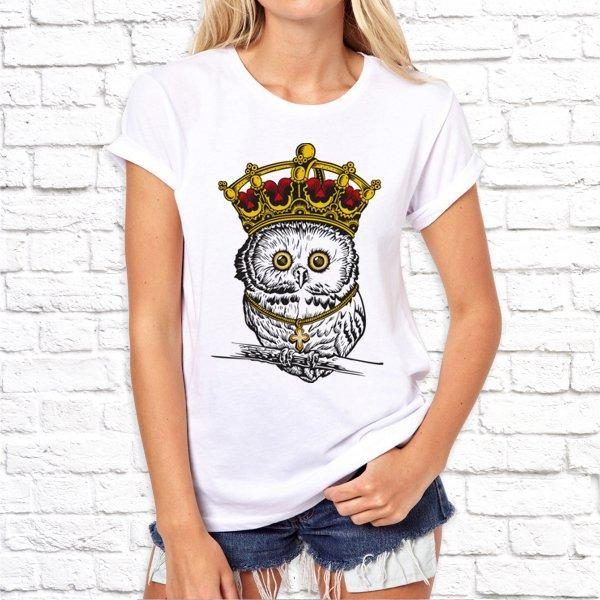 Женская футболка Push IT с принтом Сова в короне