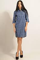 Джинсовое женское платье-рубашка принт зонтики RiMar Тейли  42, 44, 46, 48, 50, 52