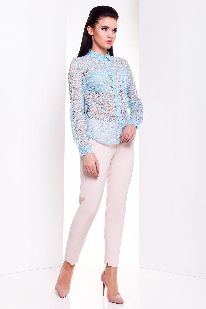 Модная женская блуза с длинным рукавом (S, M, L) мята