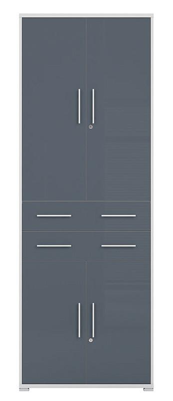 Шкаф REG4D2S/220 OFFICE LUX BRW светло-серый/графит