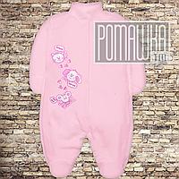 Тёплый человечек р 56 0-1 мес начес байка флис слип на новородженных нецарапка внешние швы ФУТЕР 3043 Розовый