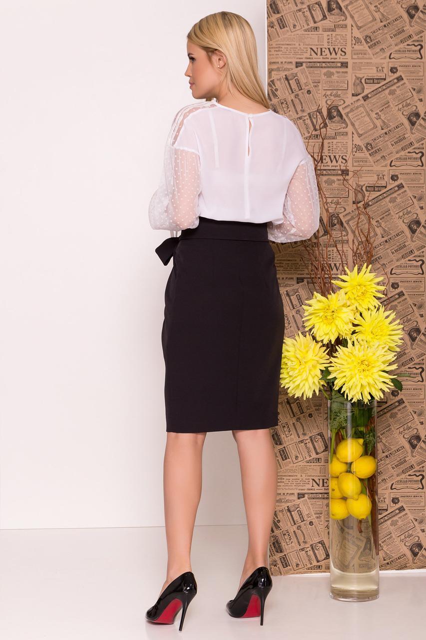 Нарядная блуза с приспущенными плечами (XS, S, M, L) белая