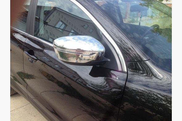Накладки на зеркала (2 шт, пласт.) Nissan Qashqai 2014↗ гг.