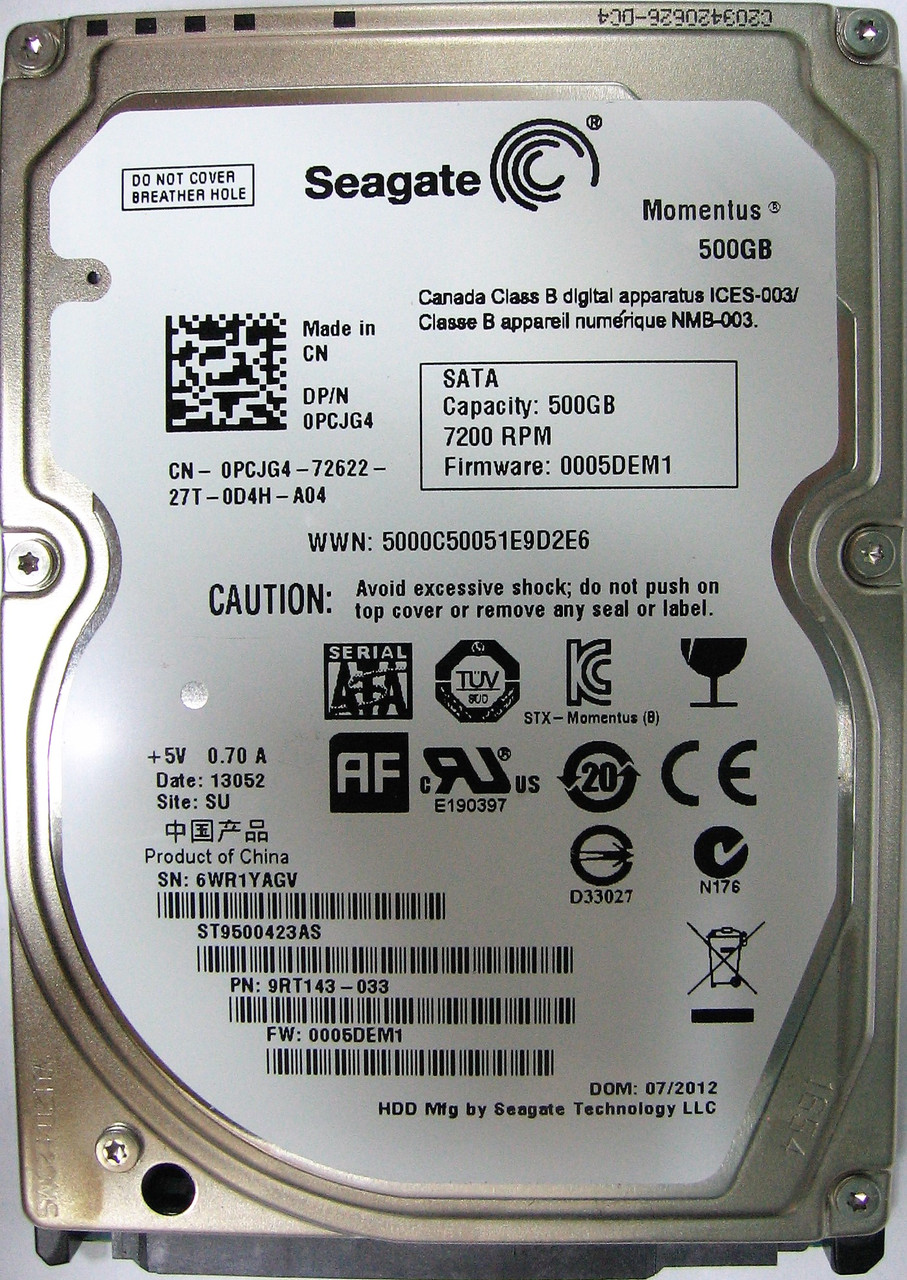 Жесткий диск HDD 500GB 7200rpm 16MB SATA II 2.5 Seagate ST9500423AS 6WR1YAGV