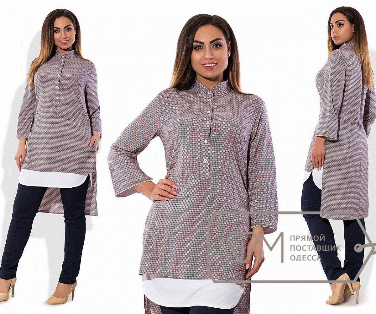 Рубашка-фрак удлинённая из софта с эффектом двуслойности, прямыми рукавами 3/4 и воротником-стойкой, 1 цвет