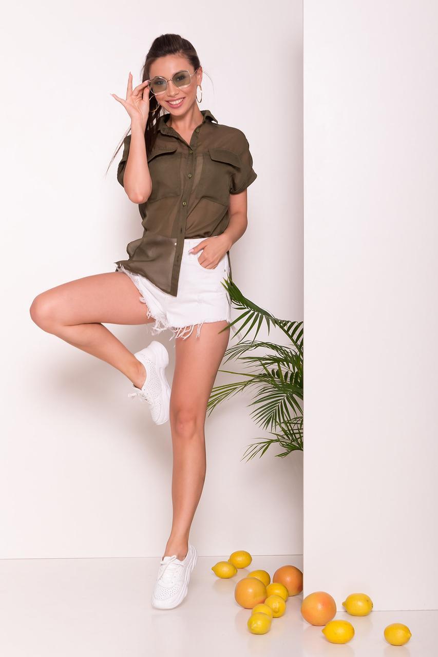 Удлиненная женская блуза свободного кроя (S, M, L, XL) хаки