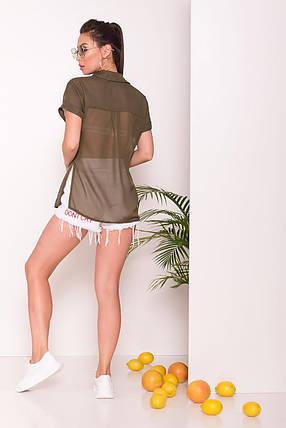 Удлиненная женская блуза свободного кроя (S, M, L, XL) хаки, фото 2