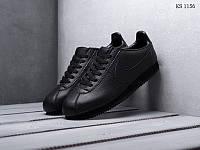 Мужские кроссовки в стиле Nike Cortez, натуральная кожа, пена, черные 42 (26,5 см)