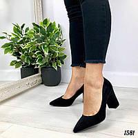 """Туфли женские на каблуке """"Podoms"""" черного цвета из эко замши. Сабо женские. Лоферы женские."""
