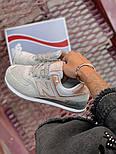 Женские кроссовки New Balance 574 замшевые серые с золотом. Живое фото (Реплика ААА+), фото 3