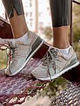 Женские кроссовки New Balance 574 замшевые серые с золотом. Живое фото (Реплика ААА+), фото 7