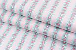 """Лоскут сатина """"Цветочки на мятных полосах и точки"""", № 2195с, размер 23*75 см, фото 2"""