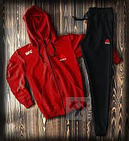 Спортивный костюм Рибок на молнии с капюшоном черно-красного цвета (Мужской спортивный костюм Reebok)