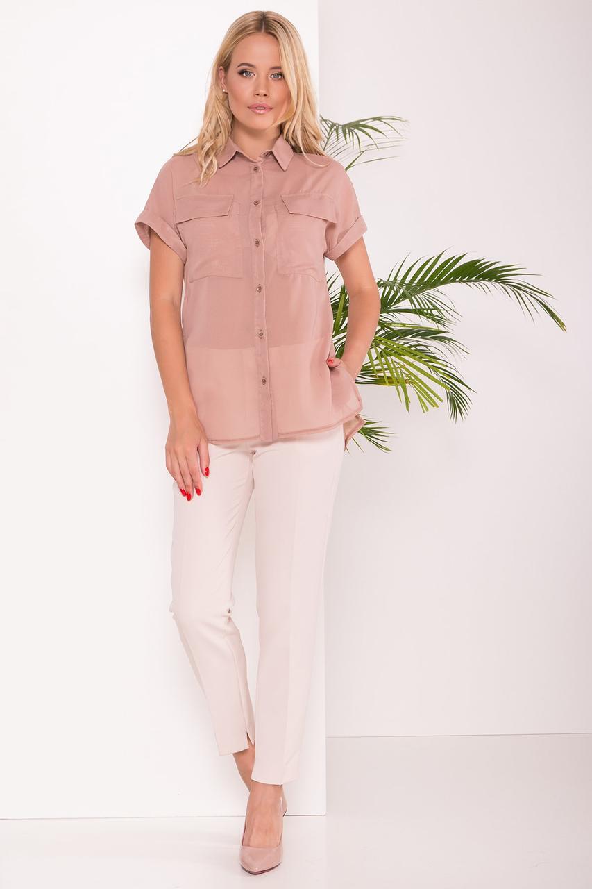 Удлиненная женская блуза свободного кроя (S, M, L, XL) бежевая