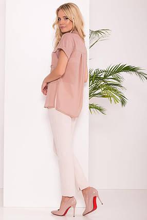 Удлиненная женская блуза свободного кроя (S, M, L, XL) бежевая, фото 2