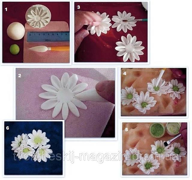 мастер класс по лепке простой маргаритки и хризантемы