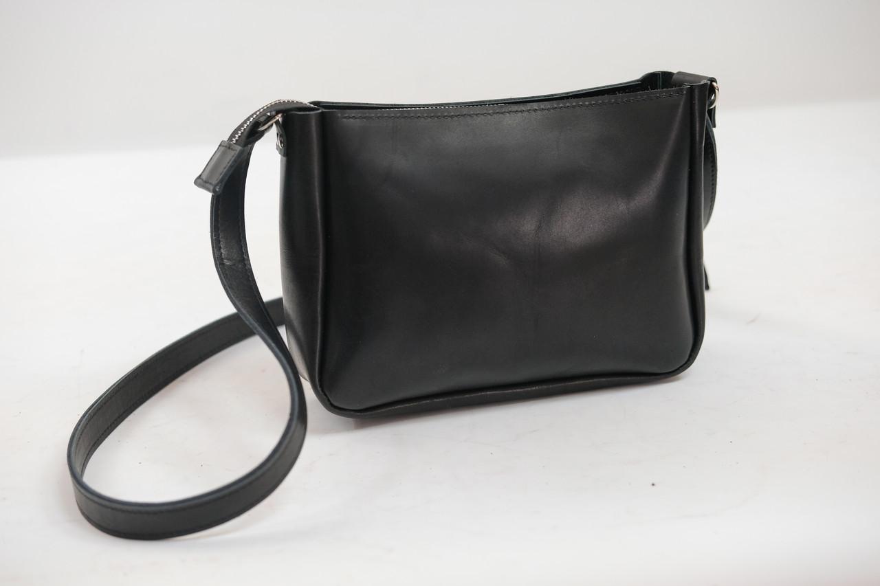 """Женская сумка """"Модель №30"""" Кожа Итальянский краст цвет Черный"""