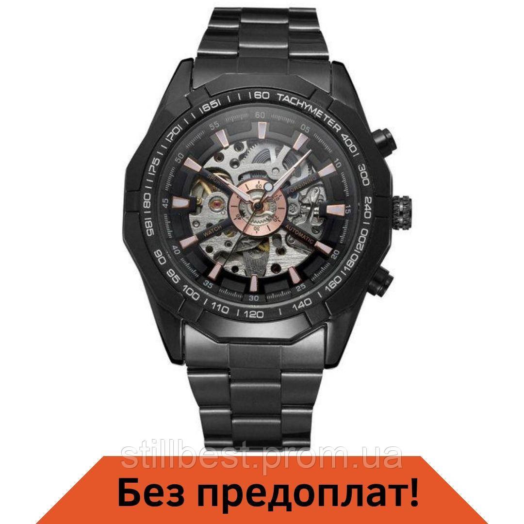 Мужские механические часы Winner Skeleton Черный