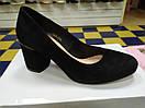 Женские модные туфли замшевые натуральные на не большем каблуке, фото 6
