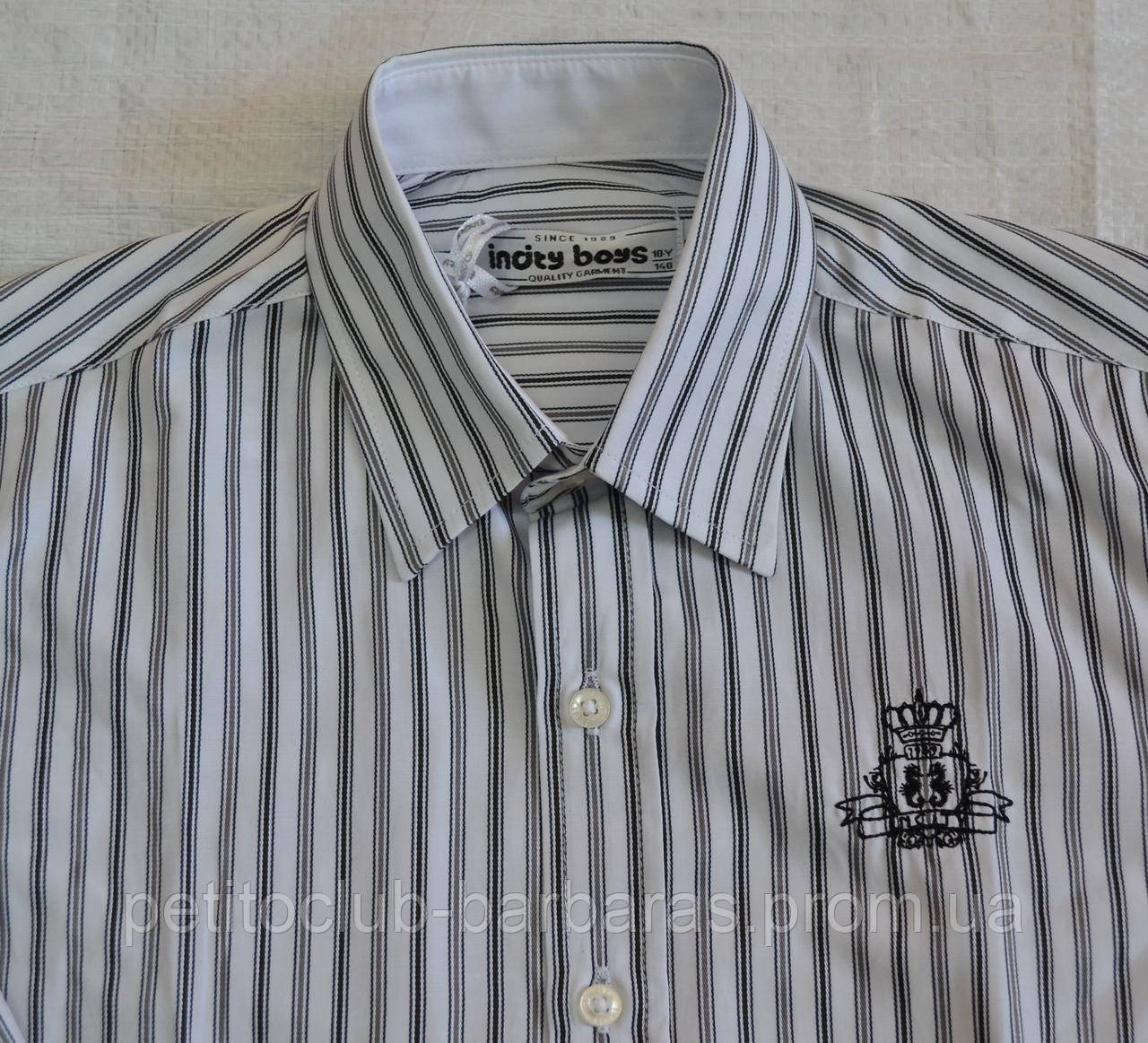 Детская сорочка для мальчика в серо-черную полоску р. 140-164 см (InCity,Турция)