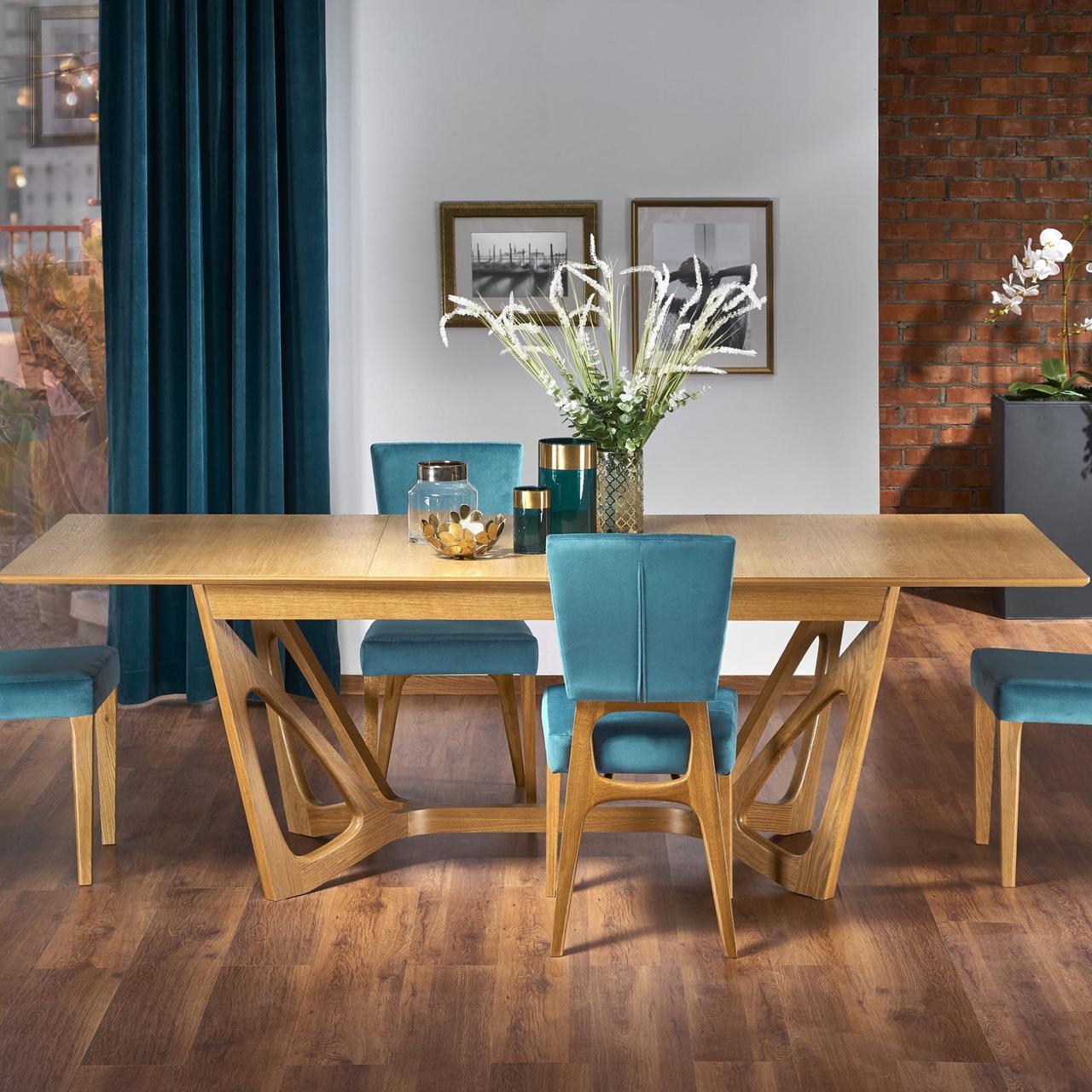 Стол обеденный раскладной деревянный WENANTY Halmar медовый дуб