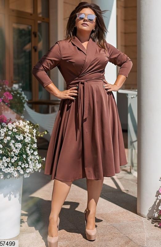 Женское платье для полных в офисном стиле коричневое