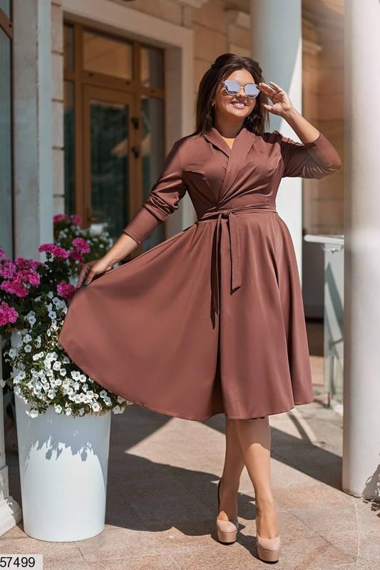 Женское платье для полных в офисном стиле коричневое, фото 2