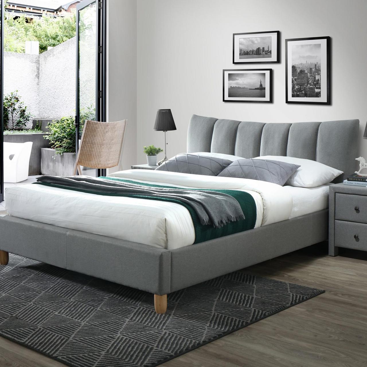 Кровать SANDY 2 160 Halmar бук/серый