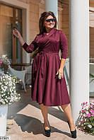 Женское платье больших размеров в офисном стиле бордовое