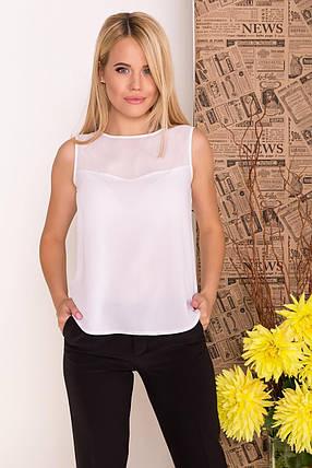 Легкая шифоновая блуза с горловиной лодочкой (XS, S, M, L) белая, фото 2