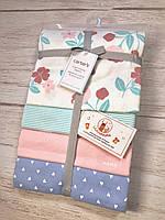Набор фланелевых пеленок Цветочные принты Carter's Картерс 4-Pack Receiving Blanket
