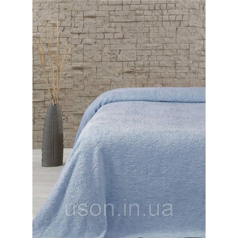 Махровая хлопковая простынь Тм Lotus Home Sun голубой