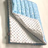 Плед в кроватку/коляску, цвет голубой с белым.