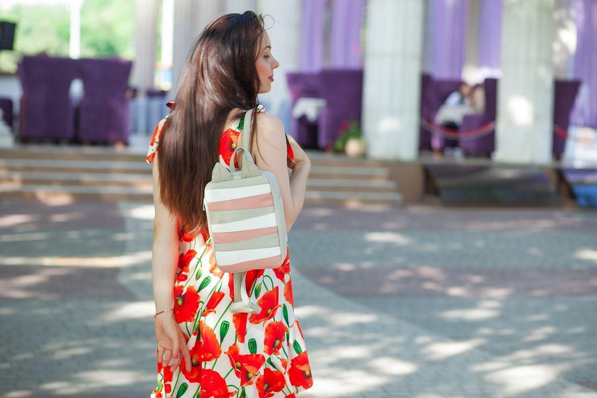 Женский трехцветный рюкзакс ушками E004