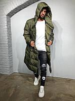 Куртка мужская длинная с капюшоном темно-зеленая удлиненная мужская куртка теплая с капюшоном📍XXL размер