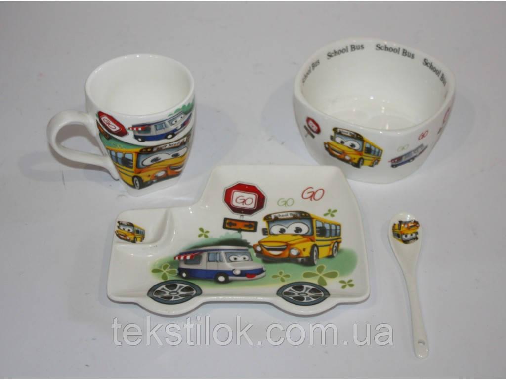 Набор детской посуды Машины - керамика
