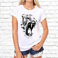 Жіноча футболка з принтом Рев Тигриці S, Білий Push IT